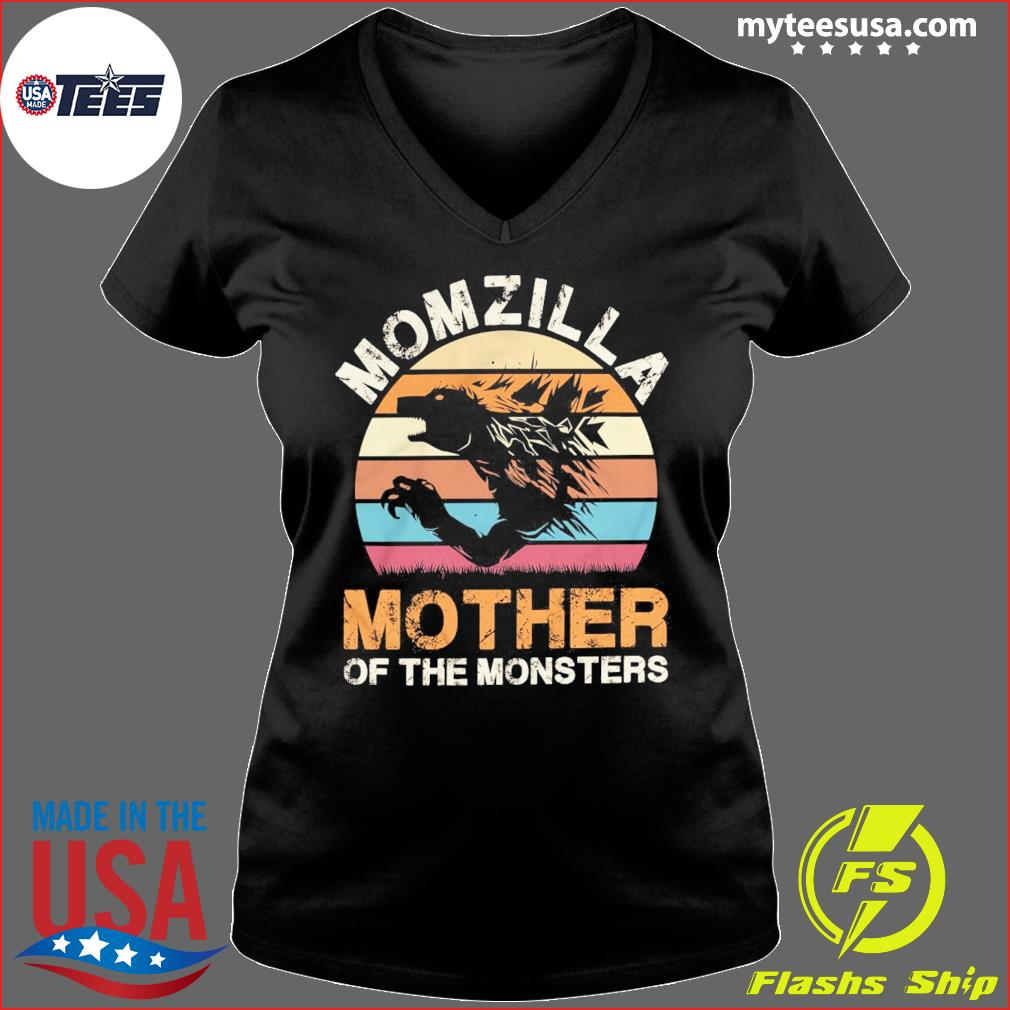 Momzilla Mother Of The Monsters Vintage Retro Shirt Ladies V-neck