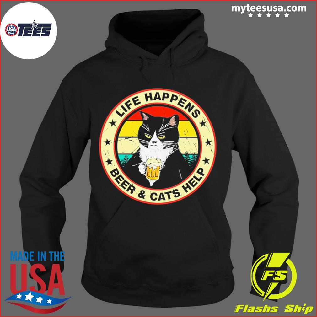 Black Cat Life happens Beer And Cats Help Vintage Shirt Hoodie