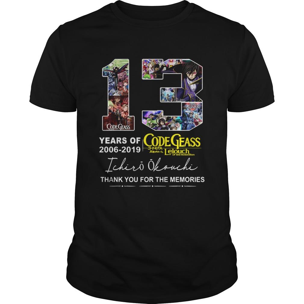 13 years of Code Geass 2006 2019 Ichiro Okouchi thank you  Unisex