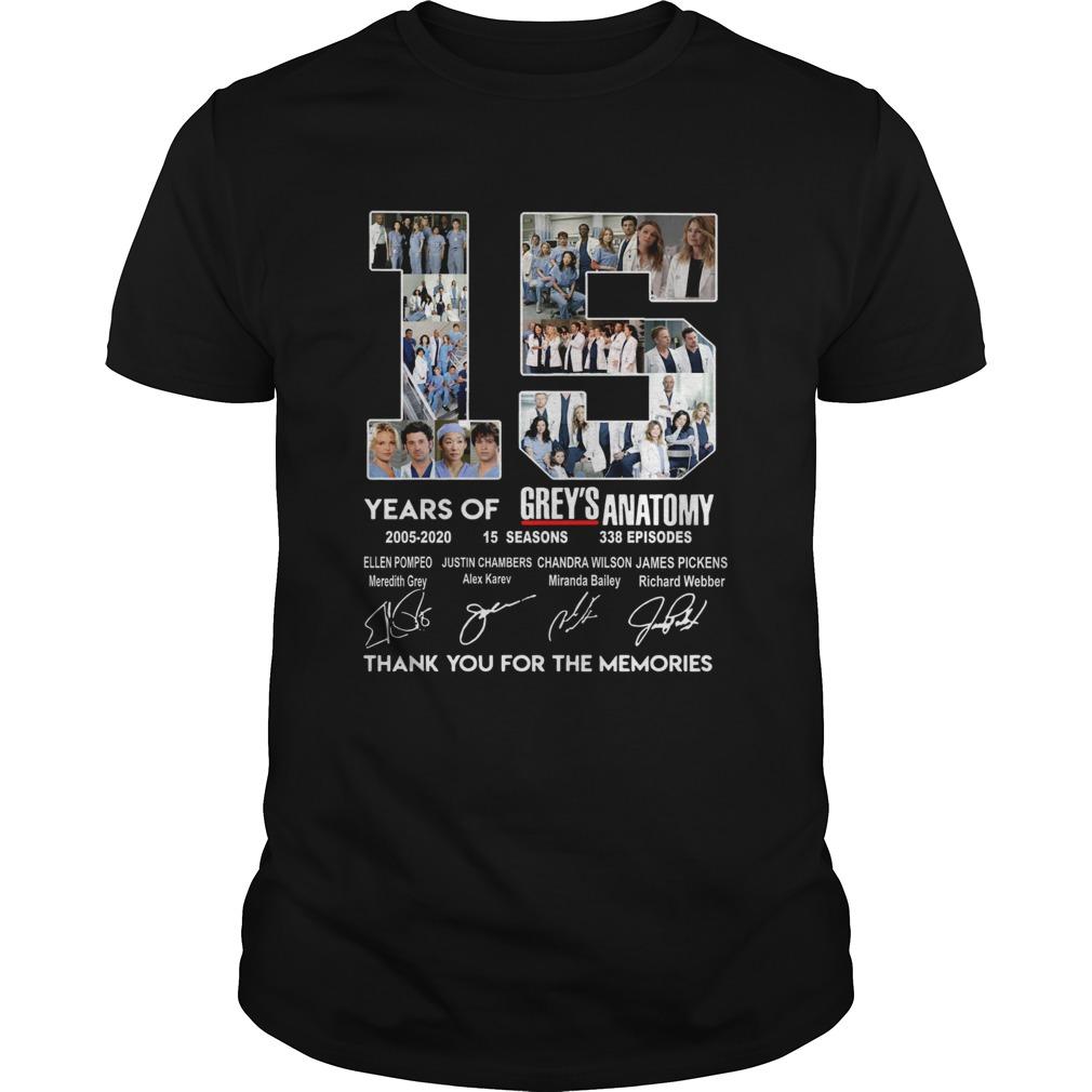 15 years of Greys Anatomy 2005 2020 thank you  Unisex