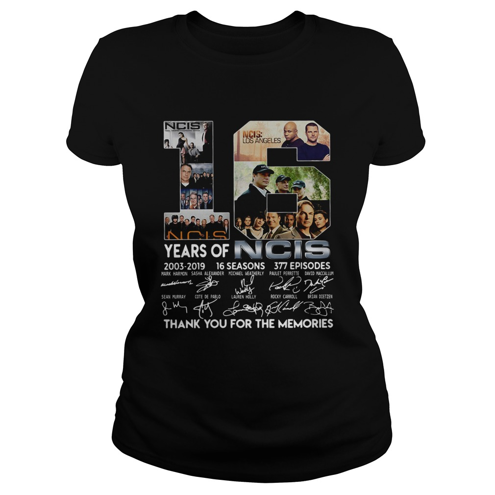 16 Years Of Ncis 20032019 16 Seasons 377 Episodes Thank You For The Memories Shirt Classic Ladies