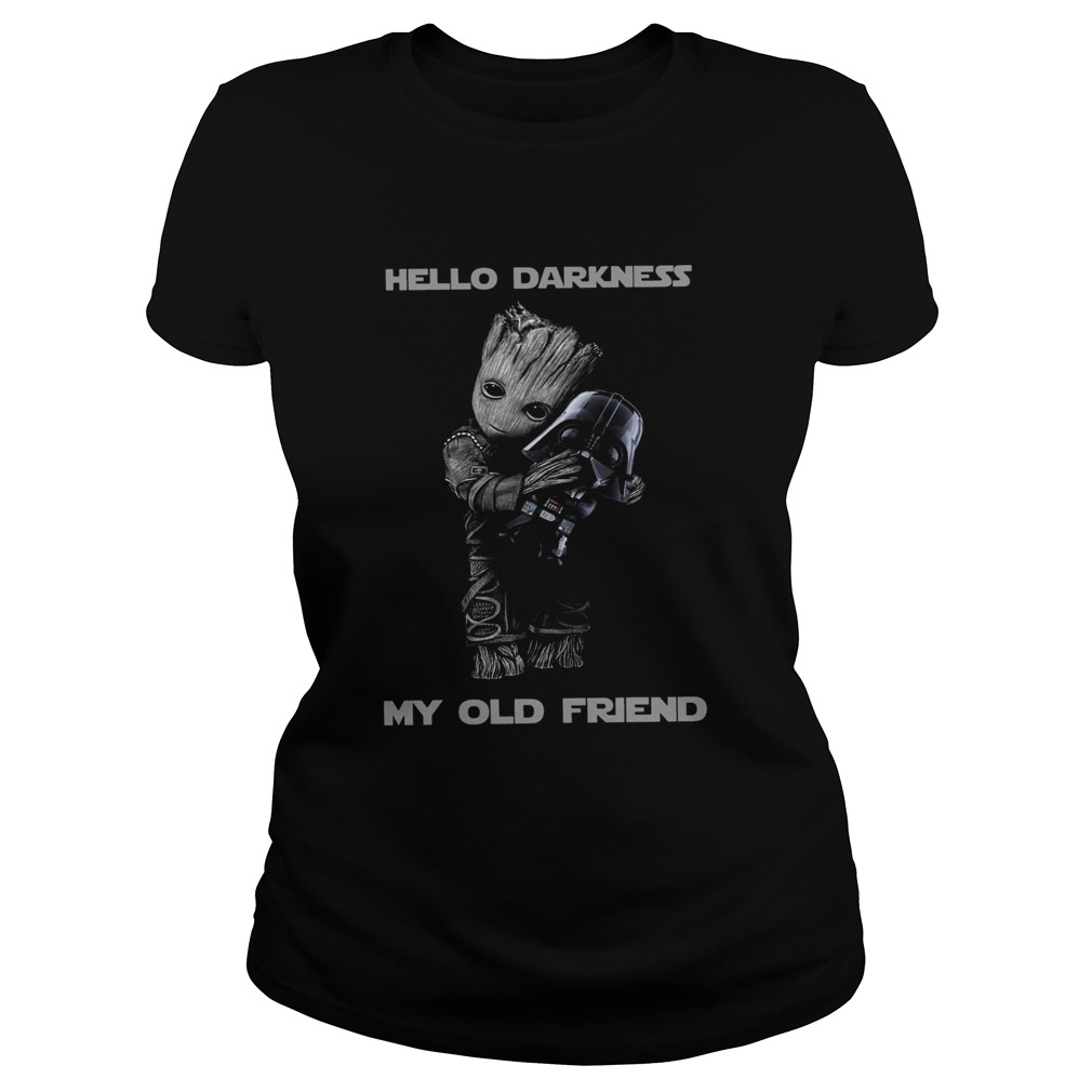 Baby Groot Hug Darth Vader Hello Darkness My Old Friend  Classic Ladies