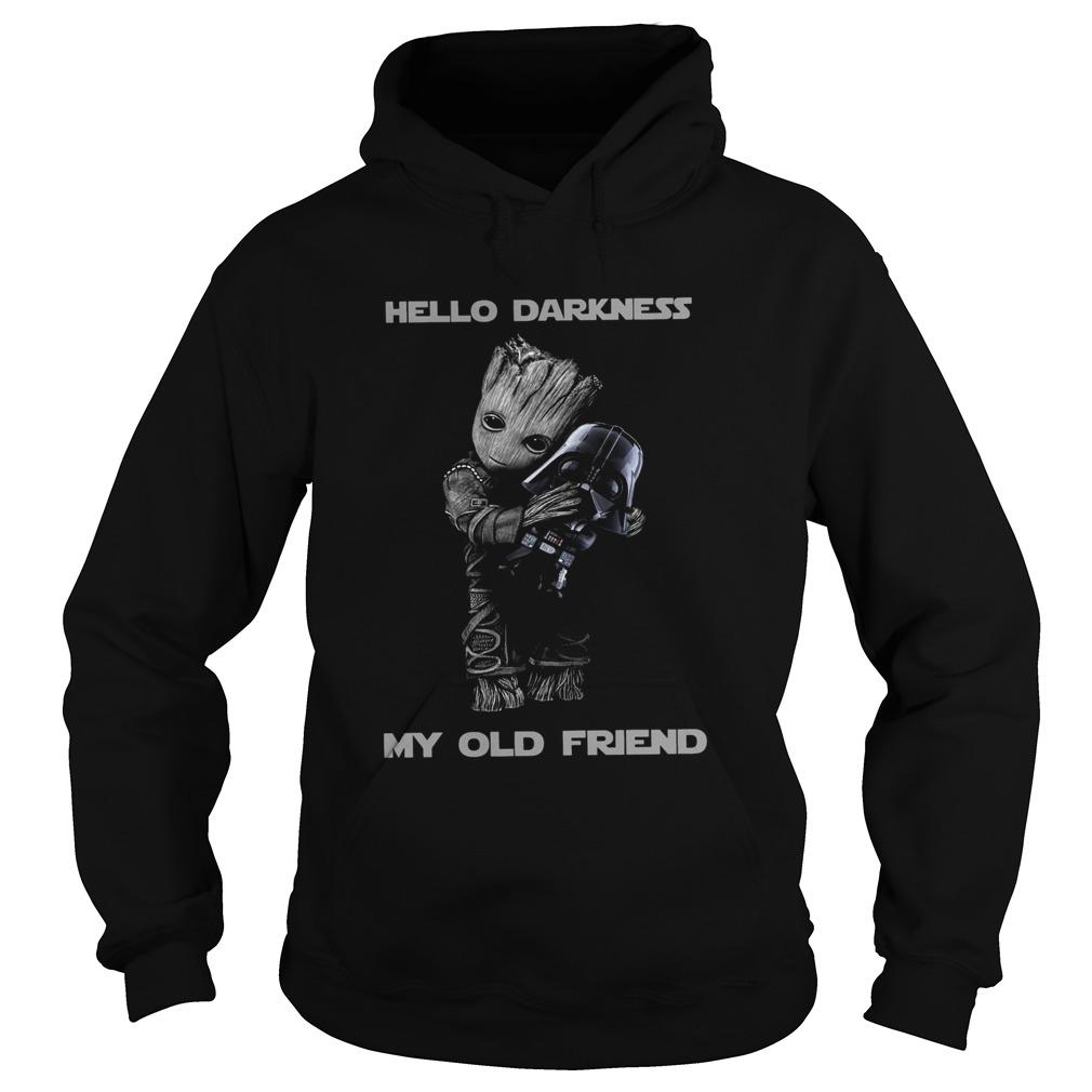 Baby Groot Hug Darth Vader Hello Darkness My Old Friend  Hoodie