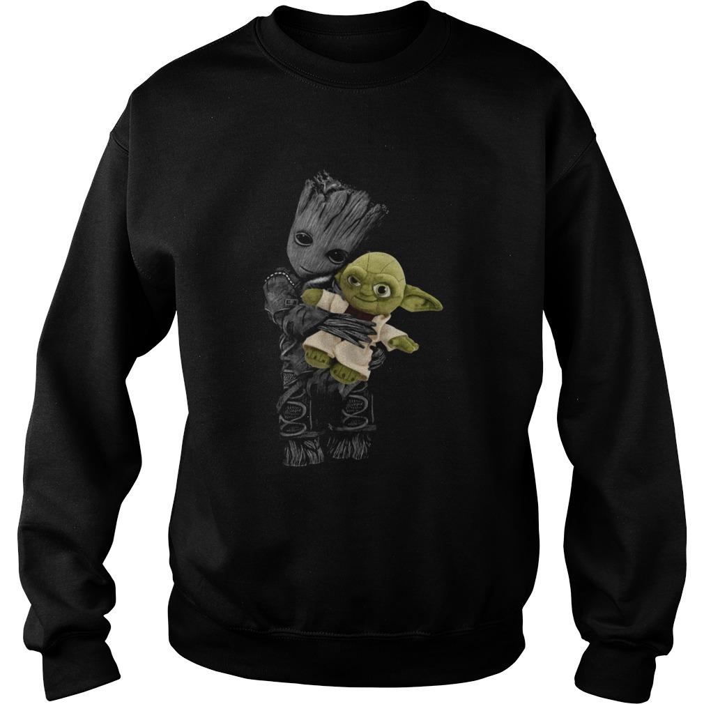 Baby Groot Hugging Baby Yoda  Sweatshirt
