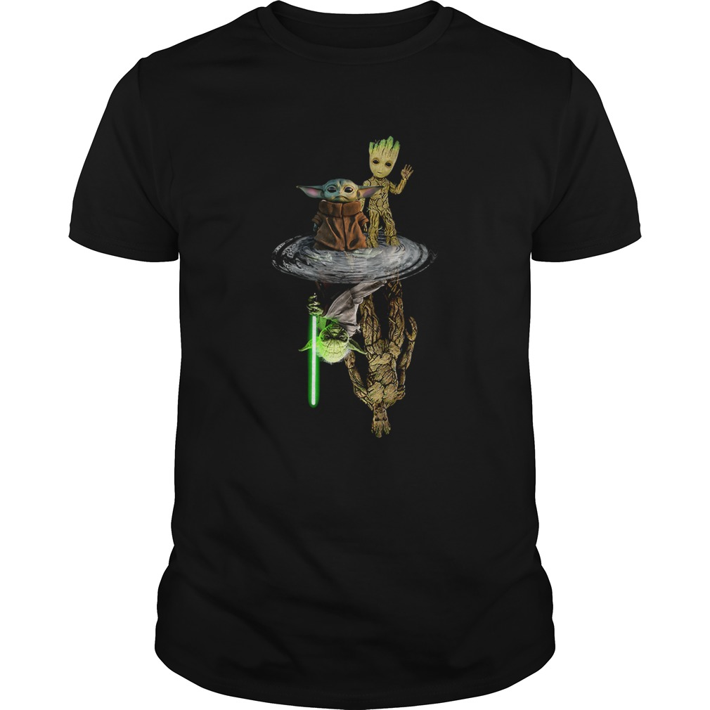 Baby Yoda and Baby Groot Water Reflection Master Yoda and Groot  Unisex