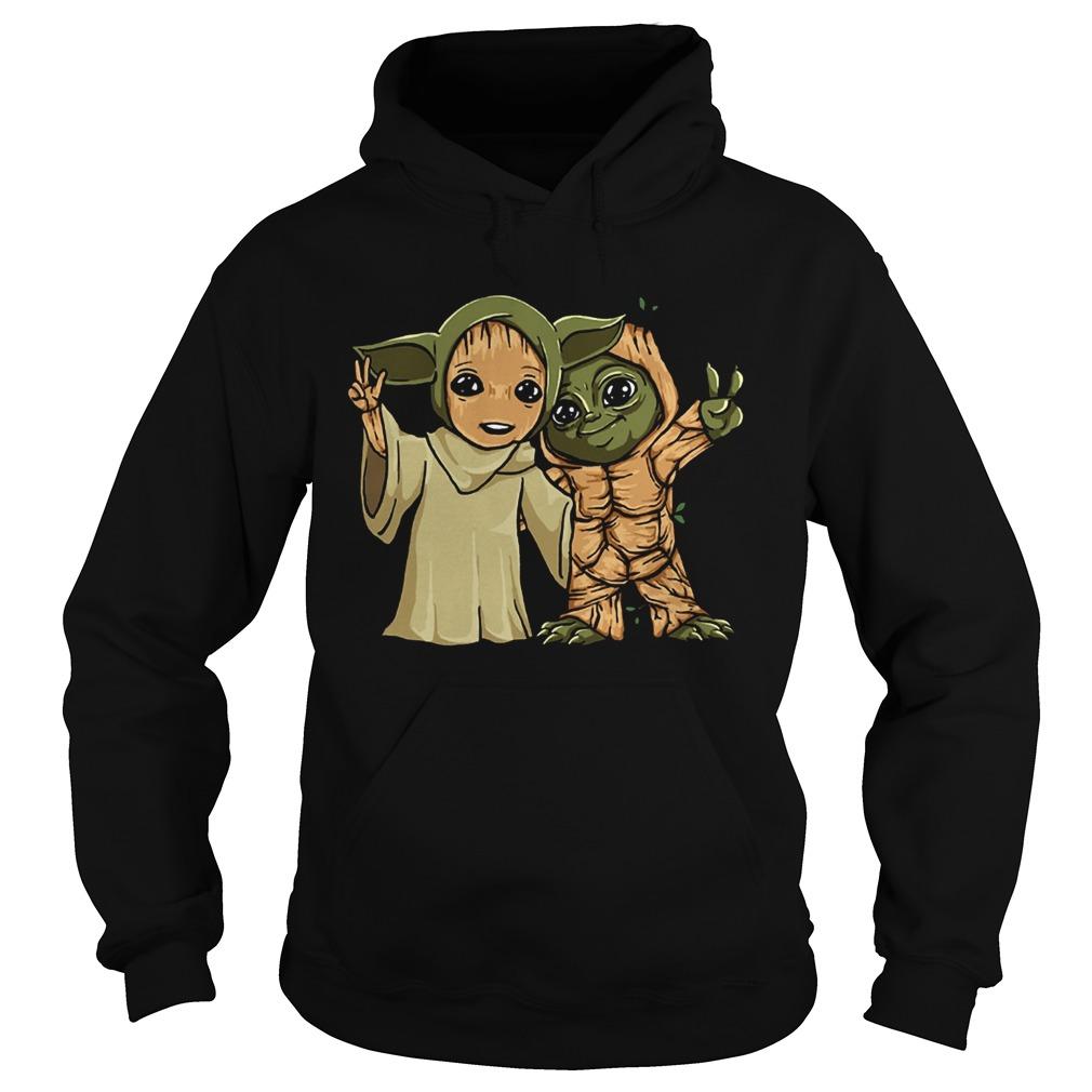 Baby Yoda and Groot  Hoodie