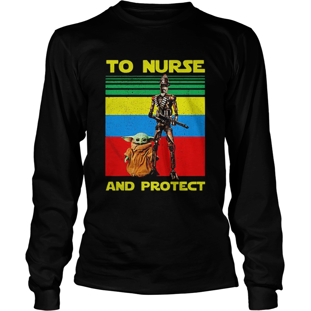 Baby Yoda and IG11 to nurse and protect vintage  LongSleeve