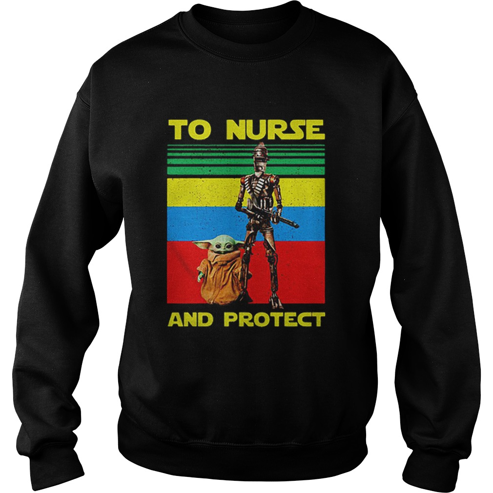 Baby Yoda and IG11 to nurse and protect vintage  Sweatshirt