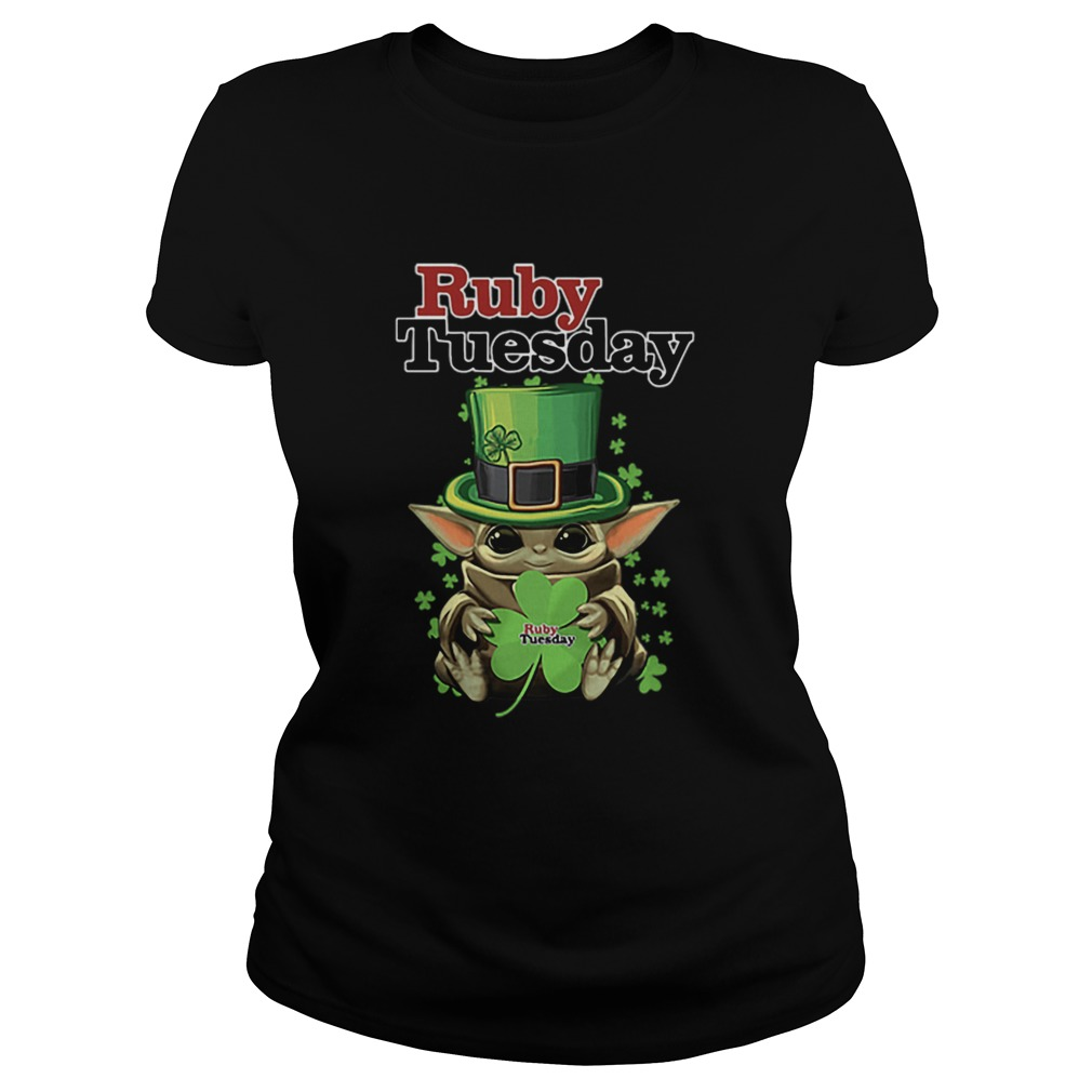 Baby Yoda Ruby Tuesday Shamrock St Patricks Day  Classic Ladies