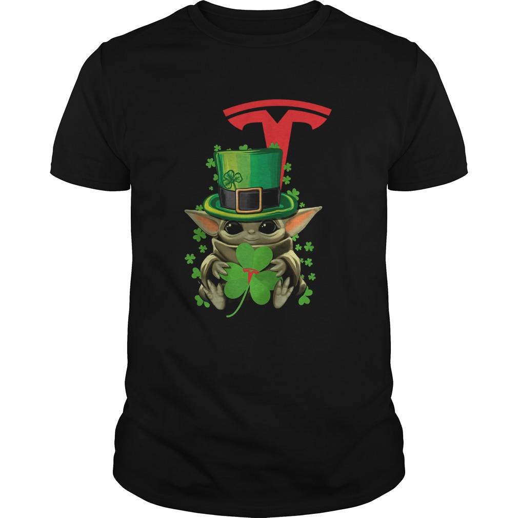 Baby Yoda Tesla Motors Shamrock St Patricks Day  Unisex