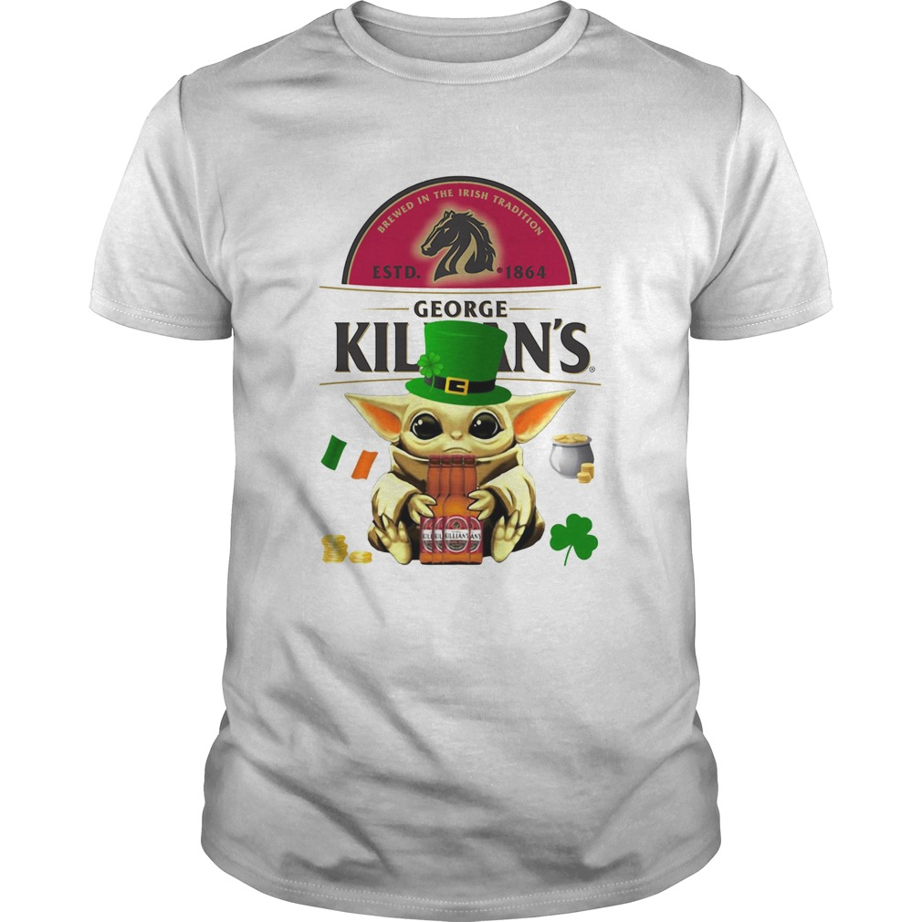 St Patricks Day Baby Yoda Hugging Irish Red Beer George Killians Unisex