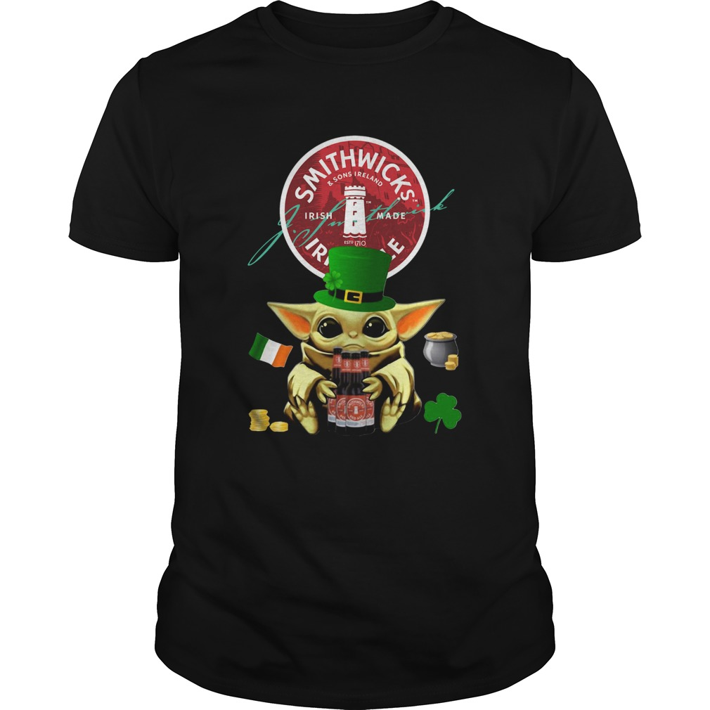 St Patricks Day Baby Yoda Hugging Smithwicks Irish Red Beer Unisex