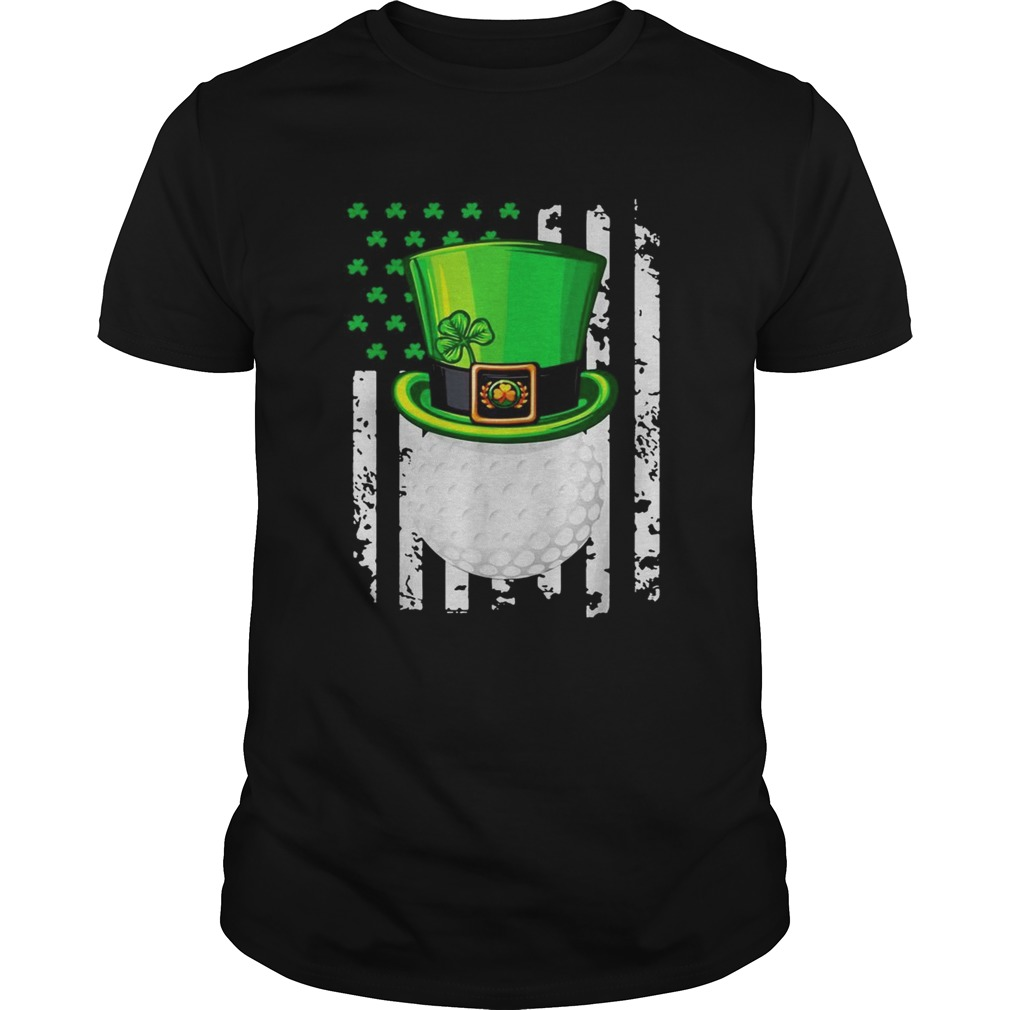 St Patricks Day Leprechaun golf and American flag  Unisex