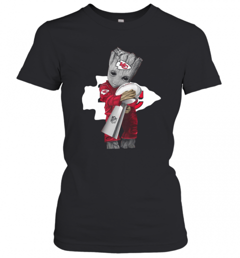 Baby Groot Hug Kansas City Chiefs Super Bowl Champions T-Shirt Classic Women's T-shirt