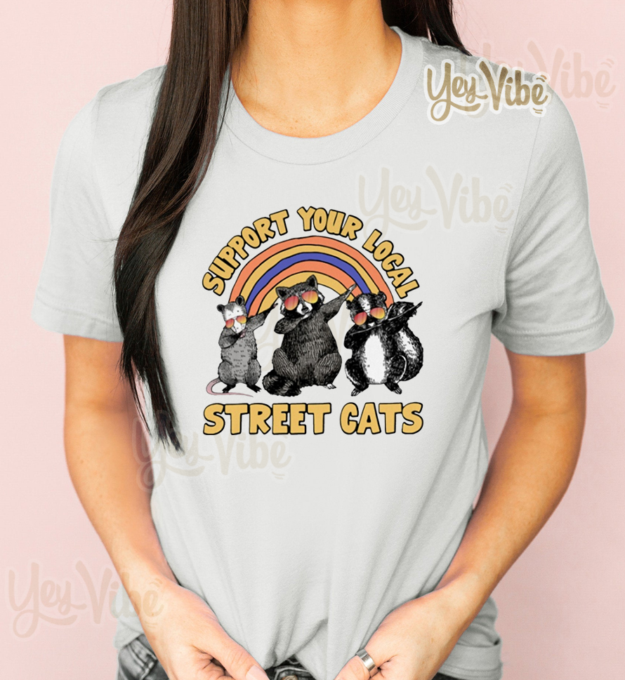 Raccoon dabbing support your local street cats t-shirt