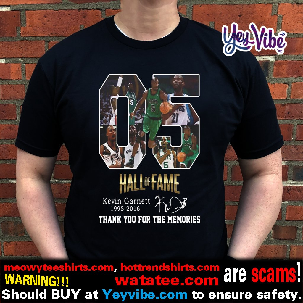 05 Hall of Fame Kevin Garnett 1995 2016 signature t shirt