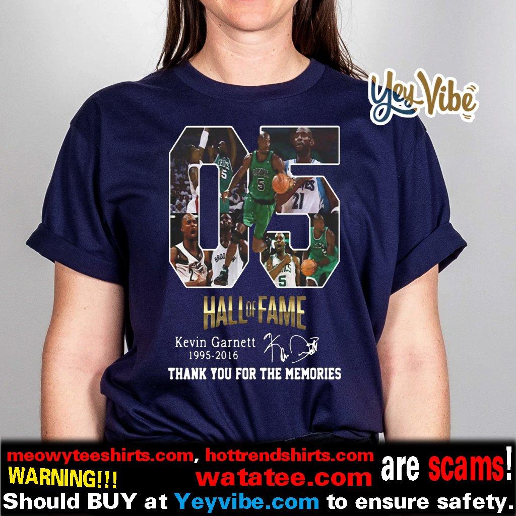 05 Hall of Fame Kevin Garnett 1995 2016 signature t shirts