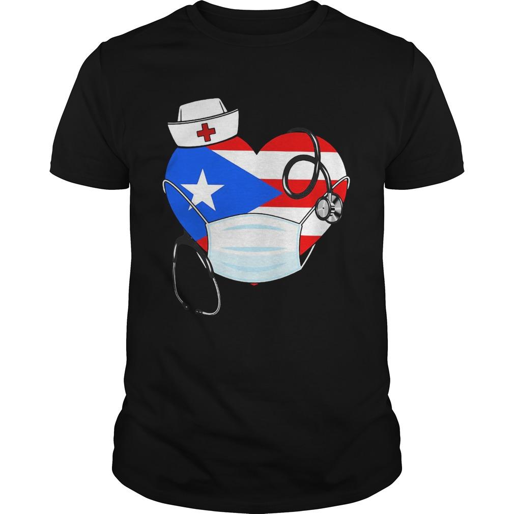 Puerto Rico Flag Heart Nurse  Unisex