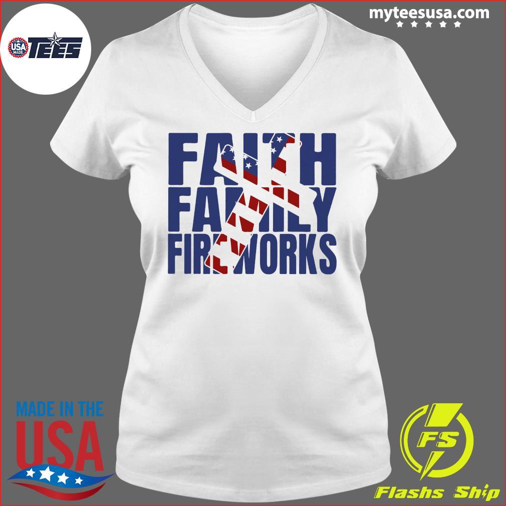 Faith family Fireworks Shirt Ladies V-neck