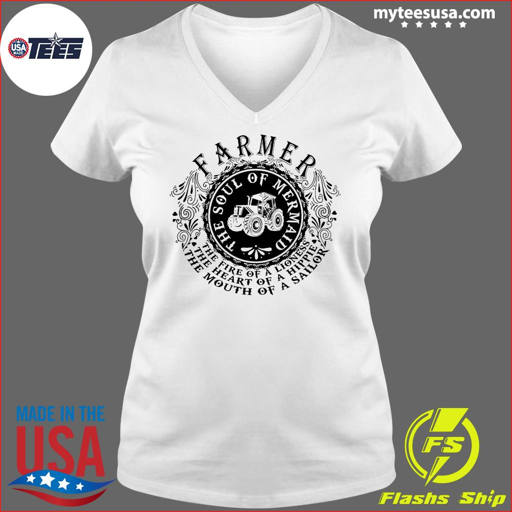 Farmer The Soul Of Mermaid The Fire Of A Lioness Shirt Ladies V-neck