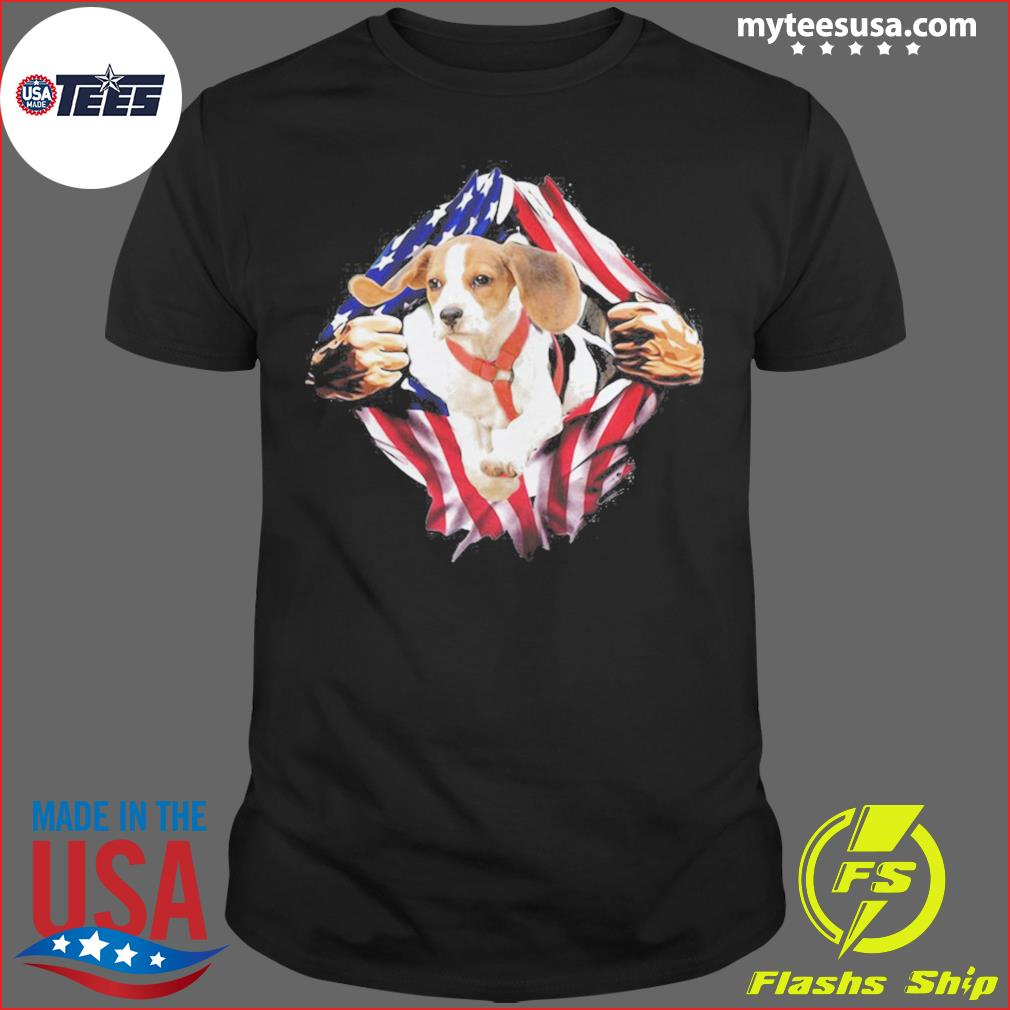 Blood Inside Me Beagle On The Flag Independence Day shirt