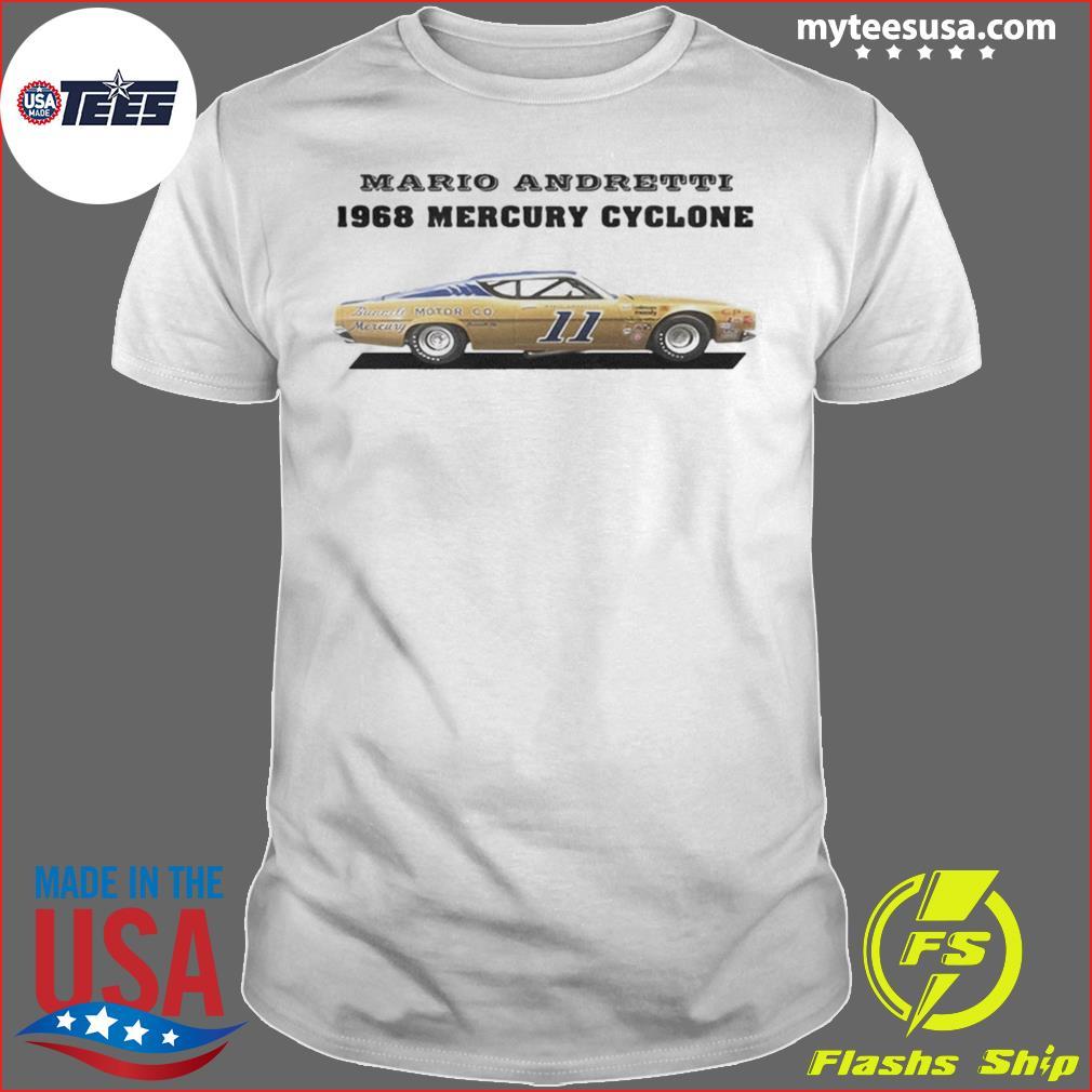 Mario andretti racing athletes 1968 mercury cyclone shirt
