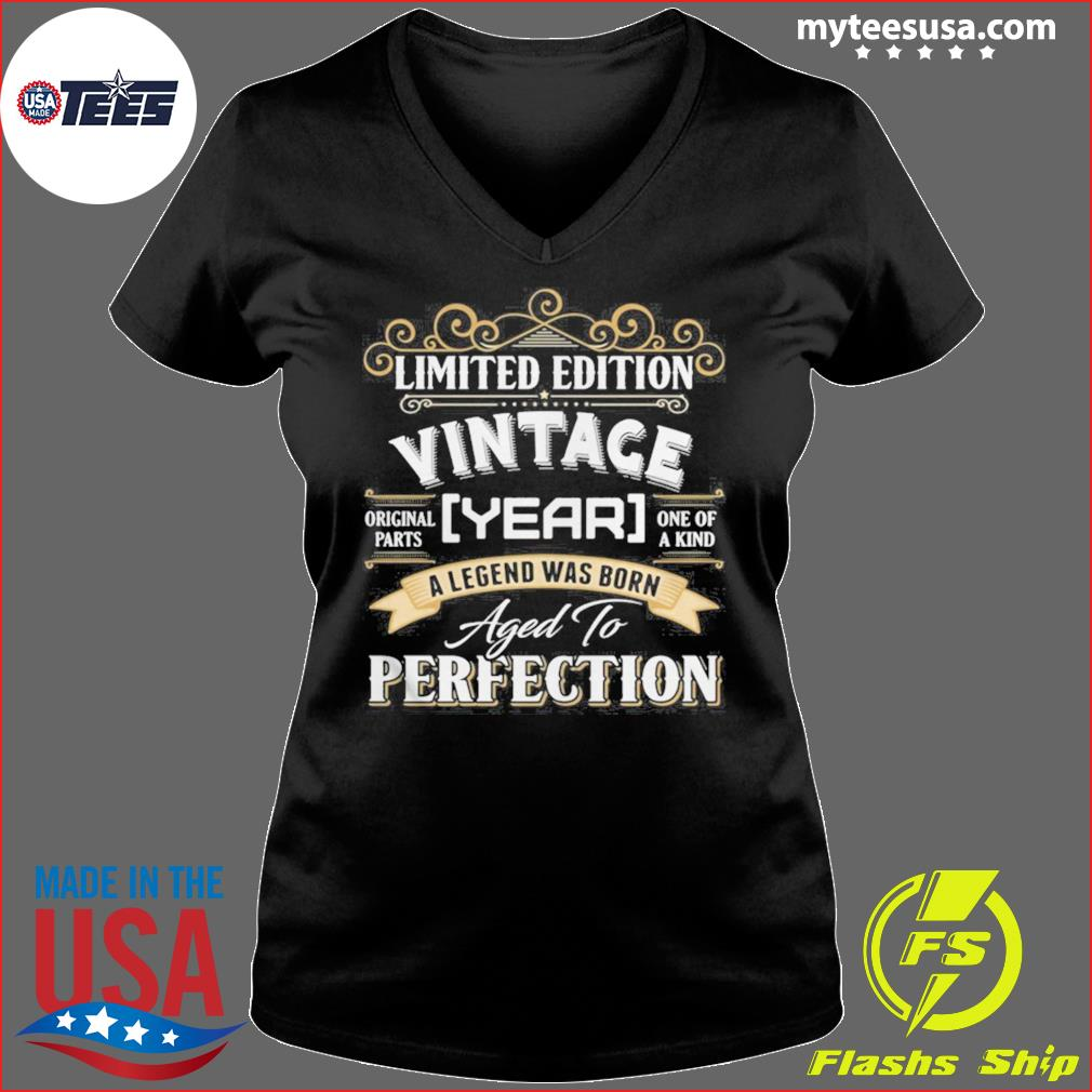 Vintace Year A Legend Was Born Aged To Perfection s Ladies V-neck
