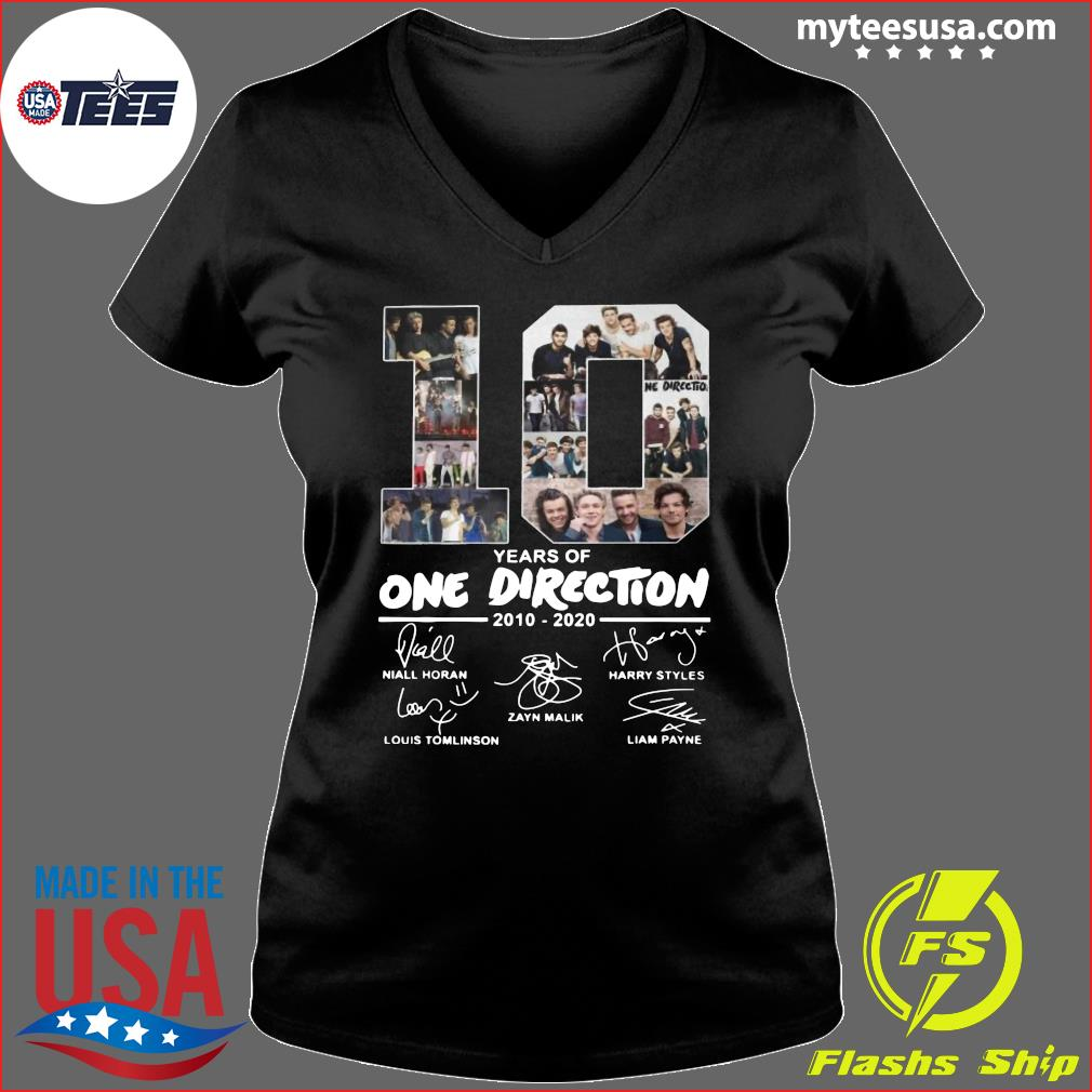 10 Years Of One Direction 2010 2020 Signatures Shirt Ladies V-neck