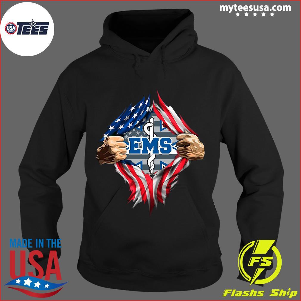 American Flag Emergency Medical Services Blood Inside Me Shirt Hoodie