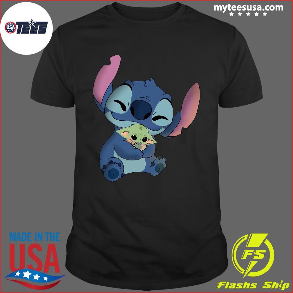 Baby Stitch Hug Baby Yoda Shirt