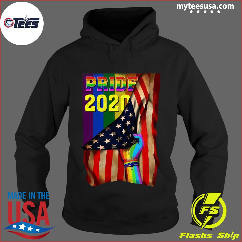Pride 2020 LGBT American Flag Hand Custom Name Shirt Hoodie