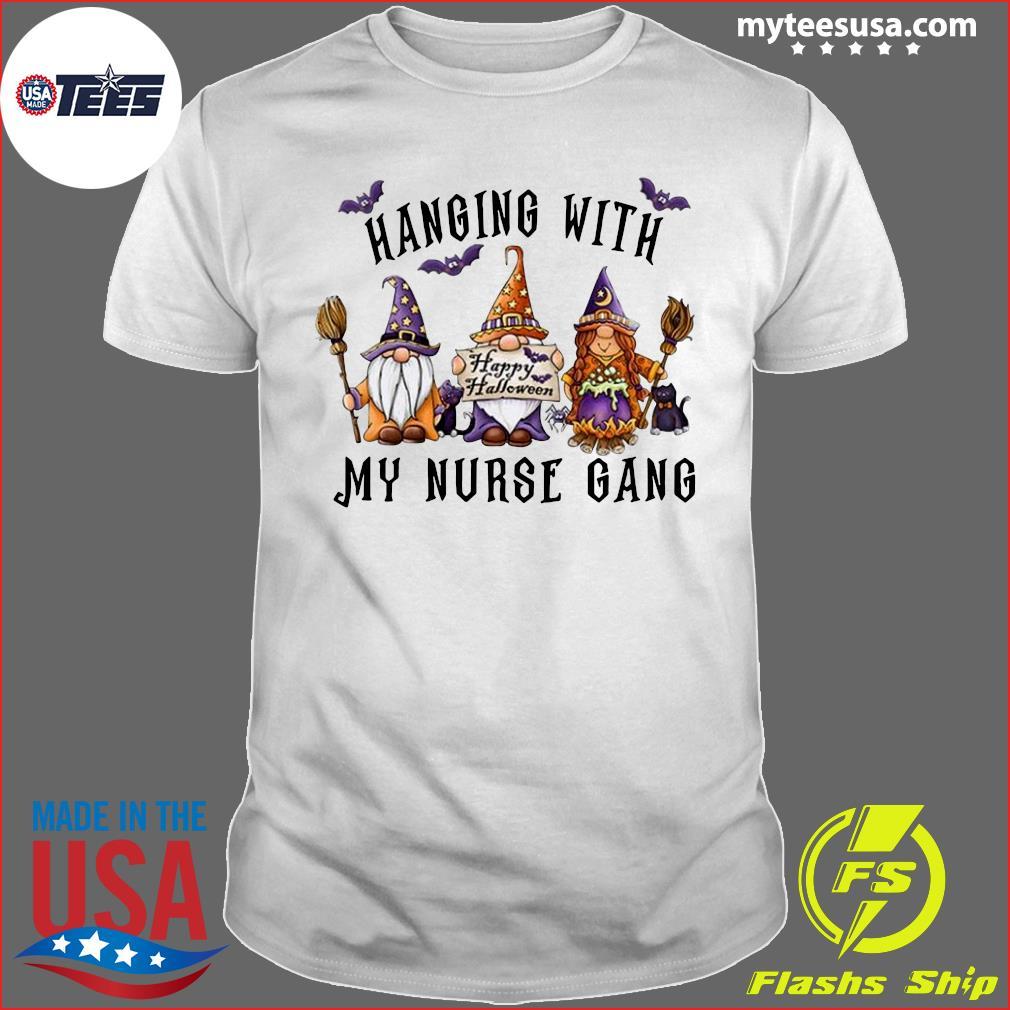 Hanging With My Nurse Gang Garden Gnomies Halloween Nurse 2020 Shirt