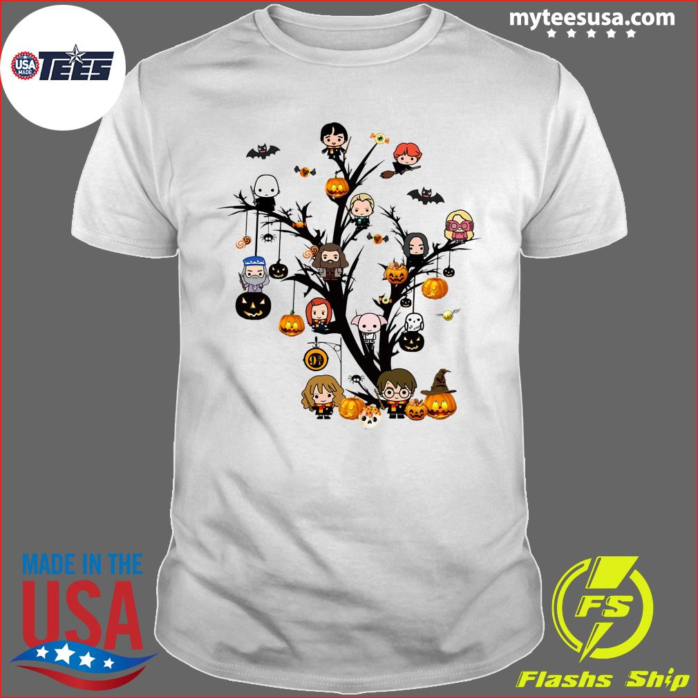 Harry Potter Chibi Character On Tree Halloween Shirt