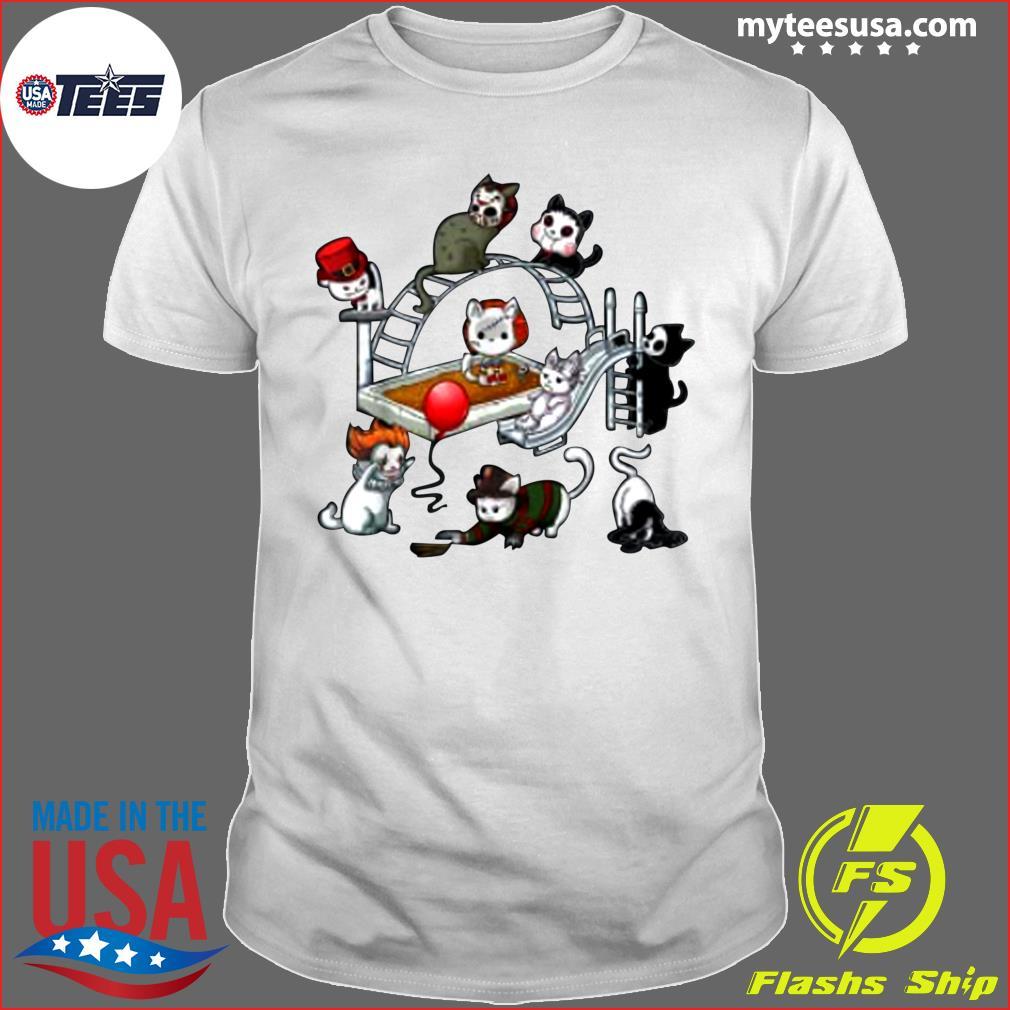 Horror Movies Cat Funny Halloween Costume Gift Kids T-Shirt
