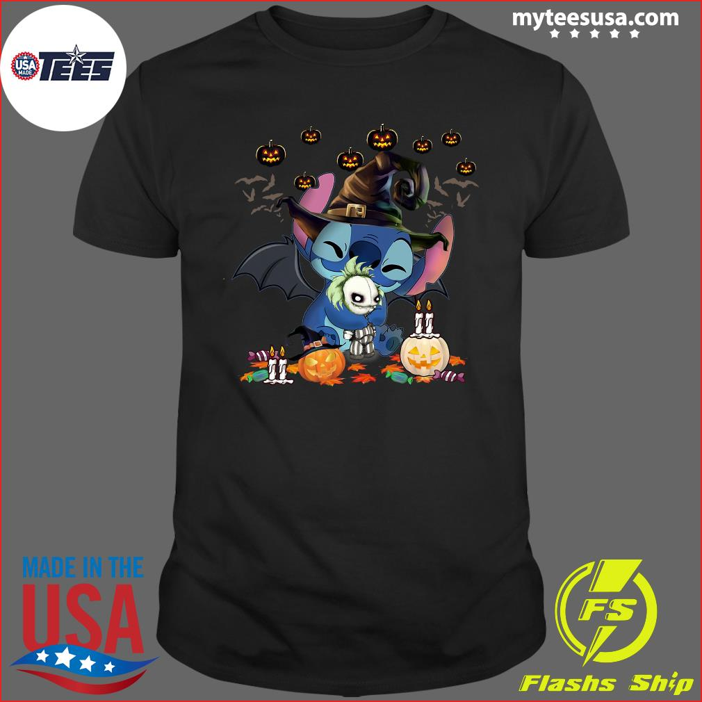 Nightmare Stitch Witch Hug Jack Skellington Halloween T-Shirt