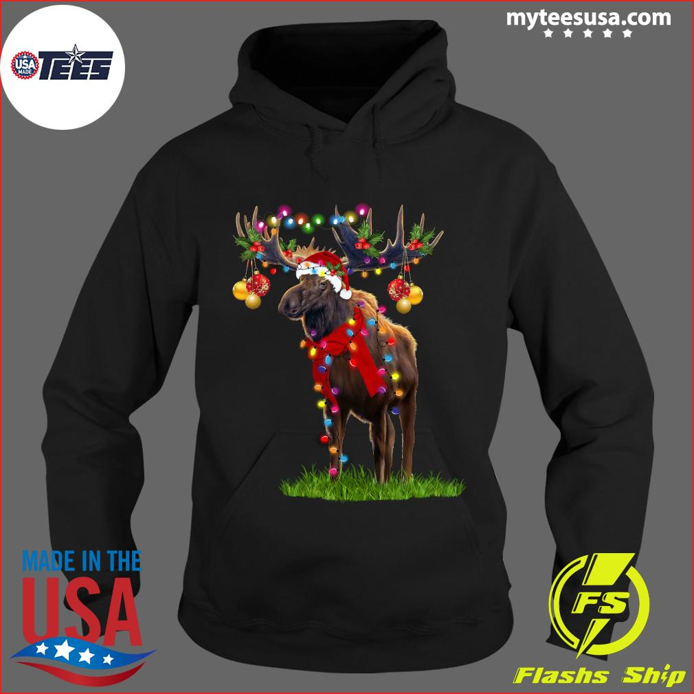 Reindeer Merry Christmas Light T-Shirt Hoodie