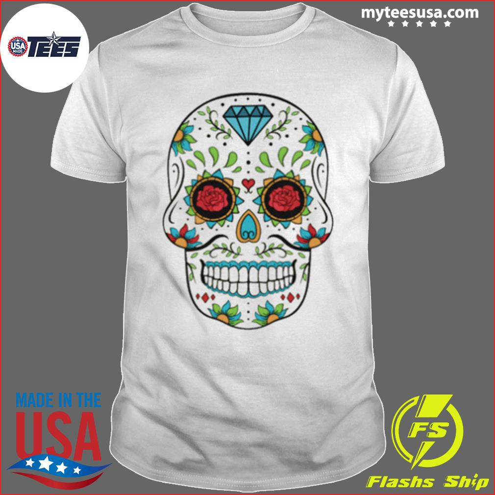Rose Sugar Skull In Mexican shirt