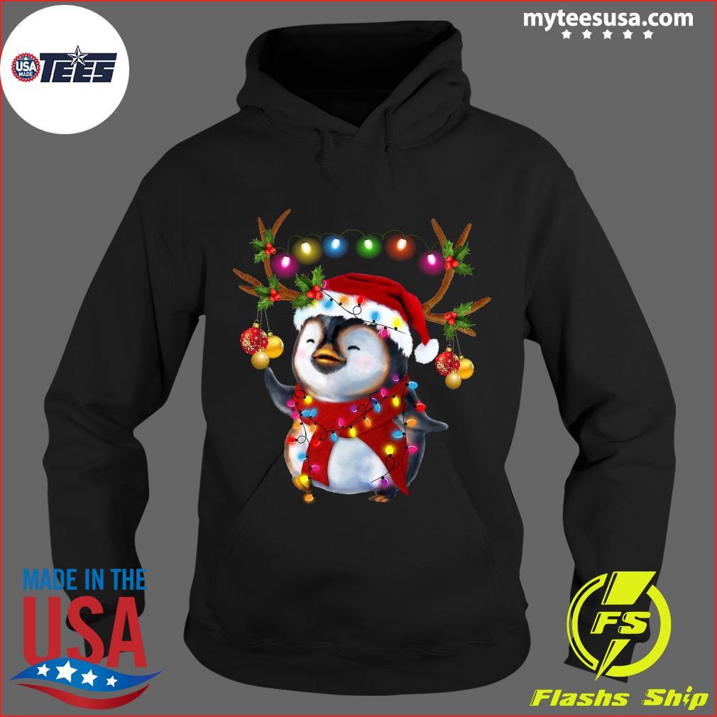 Santa Penguin Reindeer christmas light t-s Hoodie