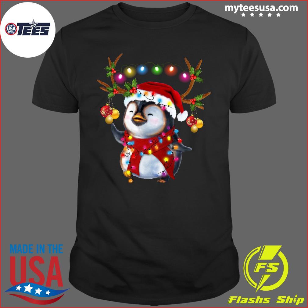 Santa Penguin Reindeer christmas light t-shirt