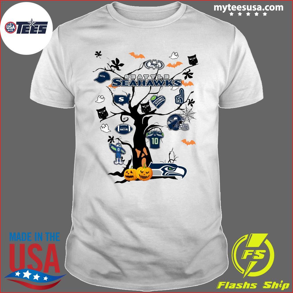 Seattle Seahawks Tree Pumpkin Halloween T-Shirt